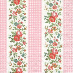 廃番 キャス・キッドソン FLORAL GINGHAM ピンク 小薔薇ボーダー*フローラル 1枚 バラ売り 33cm ペーパーナプキン Cath Kidston