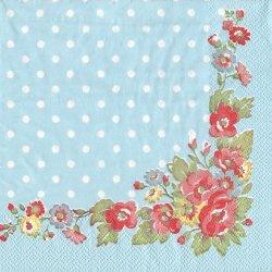 キャス・キッドソン*薔薇*フォークフラワー*水色ドット/1枚/33cm/ペーパーナプキン/バラ売り/Cath Kidston/デコパージュ
