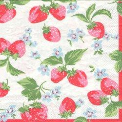 廃番 キャス・キッドソン STRAWBERRIES いちご 苺 ストロベリー ホワイト 1枚 バラ売り 33cm ペーパーナプキン Cath Kidston