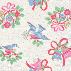 廃盤 キャス・キッドソン CHIRISTMAS BIRD クリスマスバード 手紙をくわえた小鳥とベル 1枚 バラ売り 33cm ペーパーナプキン Cath Kidston