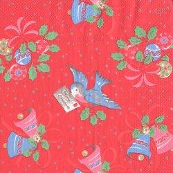 キャス・キッドソン CHRISTMAS BIRD クリスマスバード 手紙をくわえた小鳥とベル 赤 1枚 バラ売り 33cm ペーパーナプキン Cath Kidston