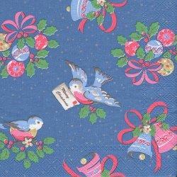 25cm 廃盤 キャス・キッドソン CHRISTMAS BIRD ブルー クリスマスバード 小鳥 1枚 バラ売り ペーパーナプキン デコパージュ Cath Kidston Ihr