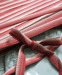フランス製〜リヨンより/アンティーク テープ トリム リボン ブレード/オンブレ グラデーション*赤xベージュ/90cmごと