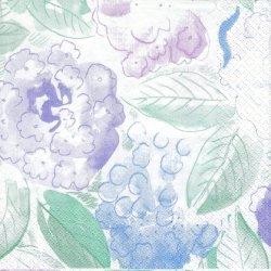 北欧 廃盤 マリメッコ 淡いトーンの花柄 紫陽花 フィンランド製 1枚 ばら売り 33cm ペーパーナプキン デコパージュ marimekko