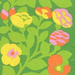 北欧 廃盤 マリメッコ Green Green グリーン グリーン・グリーン お花 フィンランド製 1枚 ばら売り 33cm ペーパーナプキン デコパージュ marimekko