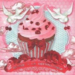 紅いリボンのカップケーキ♪ ピンク フランス製 1枚 バラ売り 33cm ペーパーナプキン デコパージュ 紙ナプキン Orval Creations