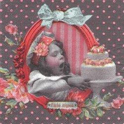 二段ホールケーキ、いただきます!少女柄 グレー フランス製 1枚 バラ売り 33cm ペーパーナプキン デコパージュ 紙ナプキン Orval Creations