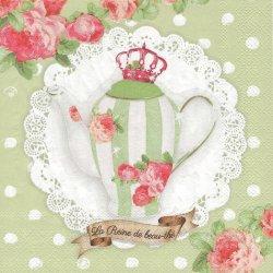 薔薇のティーセット ライトグリーン フランス製 1枚 バラ売り 33cm ペーパーナプキン デコパージュ 紙ナプキン Orval Creations