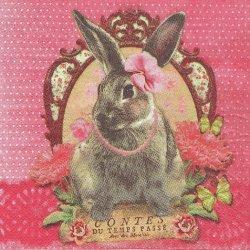 おめかしうさぎ バニー ピンク水玉 フランス製 1枚 バラ売り 33cm ペーパーナプキン デコパージュ 紙ナプキン Orval Creations