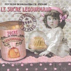 ピンクリボンの少女とケーキのドーム ピンクxグレー フランス製 1枚 バラ売り 33cm ペーパーナプキン デコパージュ 紙ナプキン Orval Creations