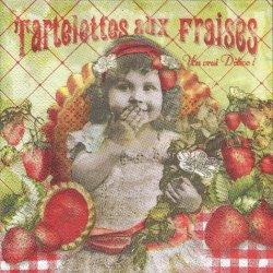 だって苺が好きなんだもん!  フランス製 1枚 バラ売り 33cm ペーパーナプキン デコパージュ 紙ナプキン Orval Creations
