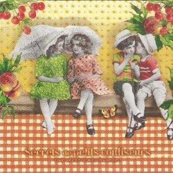 チェリー、ピーチとBOYS & GIRLS フランス製 1枚 バラ売り 33cm ペーパーナプキン デコパージュ 紙ナプキン Orval Creations