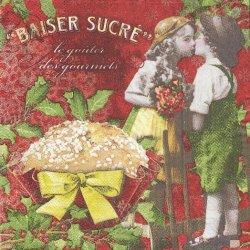 カップケーキとLOVERS フランス製 1枚 バラ売り 33cm ペーパーナプキン デコパージュ 紙ナプキン Orval Creations
