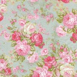 廃盤 ピンクの薔薇ブーケ ピンクxライトブルー フランス製 1枚 バラ売り 33cm ペーパーナプキン Orval Creations