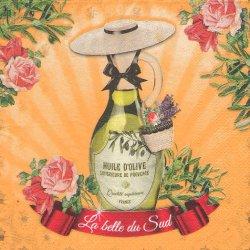 帽子をかぶるオリーブオイル オレンジ フランス製 1枚 バラ売り 33cm ペーパーナプキン デコパージュ 紙ナプキン Orval Creations