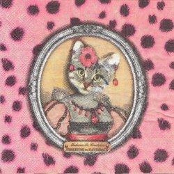 ヒョウ柄お姫様猫 ピンク フランス製 1枚 バラ売り 33cm ペーパーナプキン Orval Creations