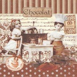 廃盤 MITRES CHOCOLATIES ショコラ 少女柄 フランス製 1枚 バラ売り 33cm ペーパーナプキン デコパージュ 紙ナプキン Easy Life