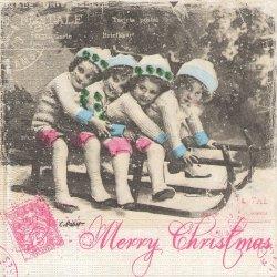 廃盤 Vintage Christmas Card 雪の中のそり遊び 少女柄 グレー 1枚 バラ売り 33cm ペーパーナプキン デコパージュ 紙ナプキン ppd