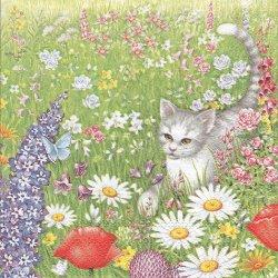 廃盤 SUMMER MEADOW お花畑で蝶と遊ぶ子猫 1枚 ばら売り 33cm ペーパーナプキン デコパージュ Ambiente