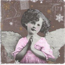 廃番 Praying Angel 小さな少女の天使 グレー 1枚 バラ売り 33cm ペーパーナプキン デコパージュ 紙ナプキン ppd