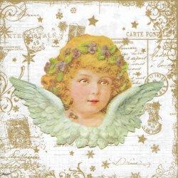 廃盤 Vintage Angel 菫の冠をした少女の天使 ゴールド Carola Pabst 1枚 バラ売り 33cm ペーパーナプキン デコパージュ 紙ナプキン ppd