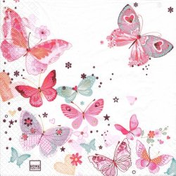 <img class='new_mark_img1' src='https://img.shop-pro.jp/img/new/icons55.gif' style='border:none;display:inline;margin:0px;padding:0px;width:auto;' />Lovely Butterflies ピンク ラブリーバタフライ 蝶 1枚 バラ売り 33cm ペーパーナプキン HOME FASHION