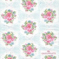 北欧 25cm 廃盤 グリーン・ゲート Olivia オリビア 薔薇 1枚 バラ売り ペーパーナプキン デコパージュ GREEN GATE