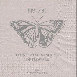 北欧 25cm グリーン・ゲート No.781 グレー 蝶 1枚 バラ売り ペーパーナプキン デコパージュ GREEN GATE