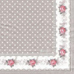 北欧 25cm 廃盤 グリーン・ゲート Sophie グレー ソフィー 薔薇 1枚 バラ売り ペーパーナプキン デコパージュ GREEN GATE