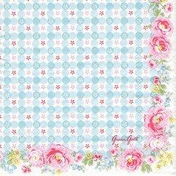 北欧 25cm 廃盤 グリーン・ゲート Mimi ミミ 薔薇 水色チェック 1枚 バラ売り ペーパーナプキン デコパージュ GREEN GATE