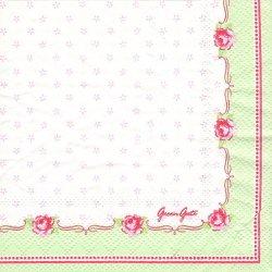 北欧 25cm 廃盤 グリーン・ゲート Celine ライトグリーン セリーヌ 薔薇 1枚 バラ売り ペーパーナプキン デコパージュ GREEN GATE