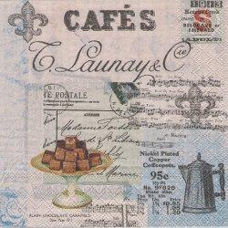 CAFE COLLAGE カフェコラージュ柄 スイーツ 楽譜 1枚 バラ売り 33cm ペーパーナプキン デコパージュ 紙ナプキン Ambiente