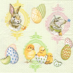 <img class='new_mark_img1' src='https://img.shop-pro.jp/img/new/icons55.gif' style='border:none;display:inline;margin:0px;padding:0px;width:auto;' />廃盤 EASTER MIX パステル調のうさぎ、ひよこ、羊 イースターミックス 1枚 バラ売り 33cm ペーパーナプキン Ambiente