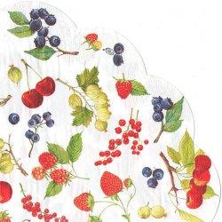 34cm FRUITS OF SUMMER 苺、チェリー、ベリー フルーツ・オブ・サマー 1枚 バラ売り サークル スカラップ型ペーパーナプキン デコパージュ用 紙ナプキン Ihr