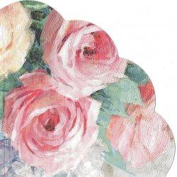 32cm 廃盤 Julia 油彩のピンクの薔薇のブーケ ジュリア 1枚 バラ売り サークル スカラップ型ペーパーナプキン デコパージュ用 紙ナプキン Paw