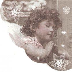 32cm 少女天使 セピア 1枚 バラ売り サークル スカラップ型ペーパーナプキン デコパージュ用 紙ナプキン Paw