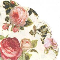 ピンクと赤、黄色の薔薇*アイボリー/1枚/直径32cm/円型/紙ナプキン/ばら売り