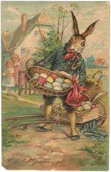卵のバスケットを抱えたうさぎ紳士*Easter Greetings*アンティークポストカード*イースター*葉書