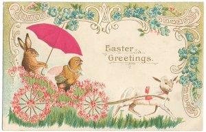 うさぎとひよこのバギーを引っ張るひつじ わすれな草*Easter Greetings*アンティークポストカード*イースター*葉書