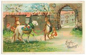 町に卵を売りに来たうさぎ親子 羊*Easter Greetings*アンティークポストカード*イースター*葉書