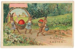 赤い卵を運ぶ3羽のうさぎ*Easter Greetings*アンティークポストカード*イースター*葉書