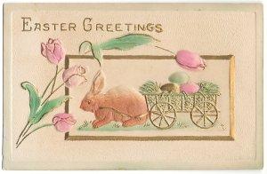 チューリップと卵の荷車を引っ張るベージュうさぎ*Easter Greetings*アンティークポストカード*イースター*葉書