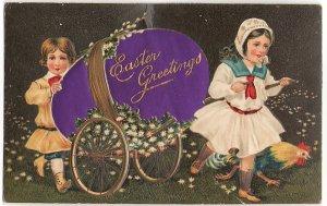 大きなたまごの荷車をひっぱる少年少女*紫*Easter Greetings*アンティークポストカード*イースター*葉書