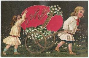 大きなたまごの荷車をひっぱる少年少女*赤*Easter Greetings*アンティークポストカード*イースター*葉書