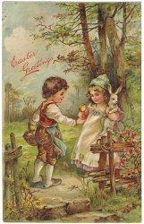 うさぎを抱っこする少女に赤いたまごをあげる*Easter Greetings*アンティークポストカード*イースター*葉書