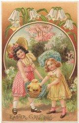 ひよこバスケットを持つ2人の少女*Easter Greetings*アンティークポストカード*イースター*葉書