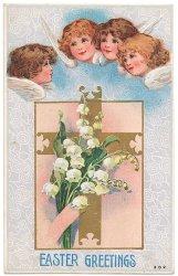 十字架と鈴蘭、天使*Easter Greetings*アンティークポストカード*イースター*葉書