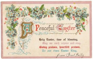 わすれな草と文字*薄紫*Easter Greetings*アンティークポストカード*イースター*葉書