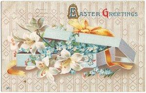 黄色いリボンの水色の箱に百合とわすれな草*Easter Greetings*アンティークポストカード*イースター*葉書