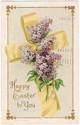 リボンの十字架にわすれな草のブーケ*Easter Greetings*アンティークポストカード*イースター*葉書
